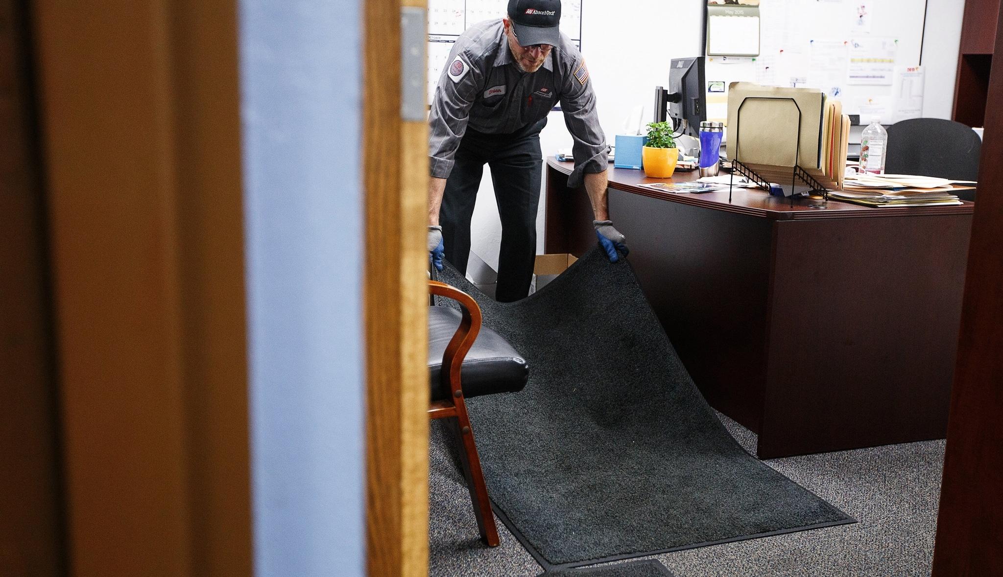 walk mat in an office